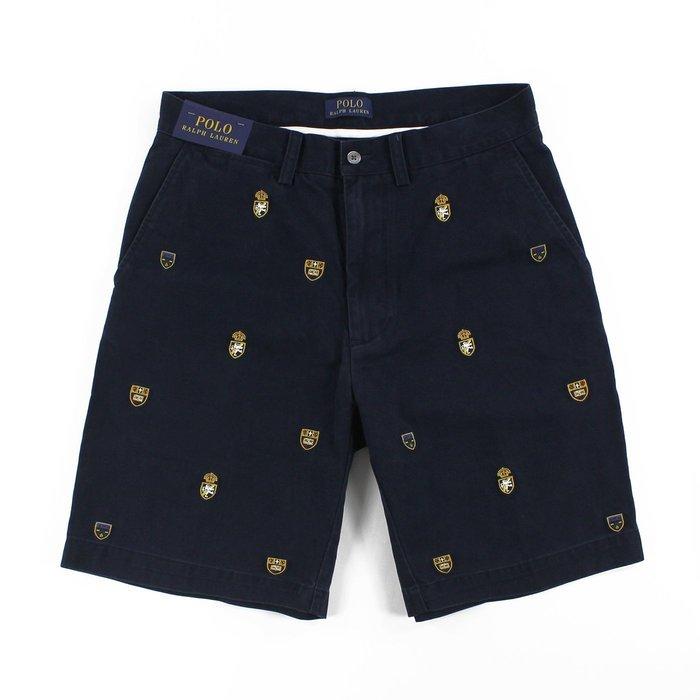 美國百分百【Ralph Lauren】短褲 休閒褲 五分褲 褲子 Polo 大尺碼 徽章 滿版 RL 深藍 G495