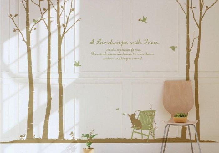 小妮子的家@樺木和貓壁貼/牆貼/玻璃貼/ 磁磚貼/汽車貼/家具貼/冰箱貼