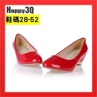 小尺碼女鞋大尺碼女鞋中跟低跟漆皮亮皮尖頭粗跟百搭基本款-白/黑/紅/黃28-52【AAA2237】預購