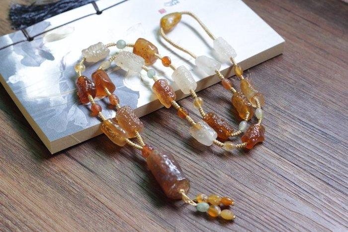 (老銀屋)純天然蒙古戈壁原石瑪腦管狀瑪瑙原石奇石項鍊