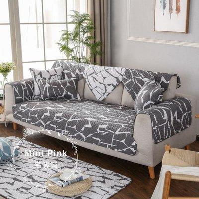 Mini Pink 宅貨舖--北歐宜家風 個性大理石紋-灰色 絎縫布藝沙發墊 抱枕套 多種規格【D461-3】訂製款