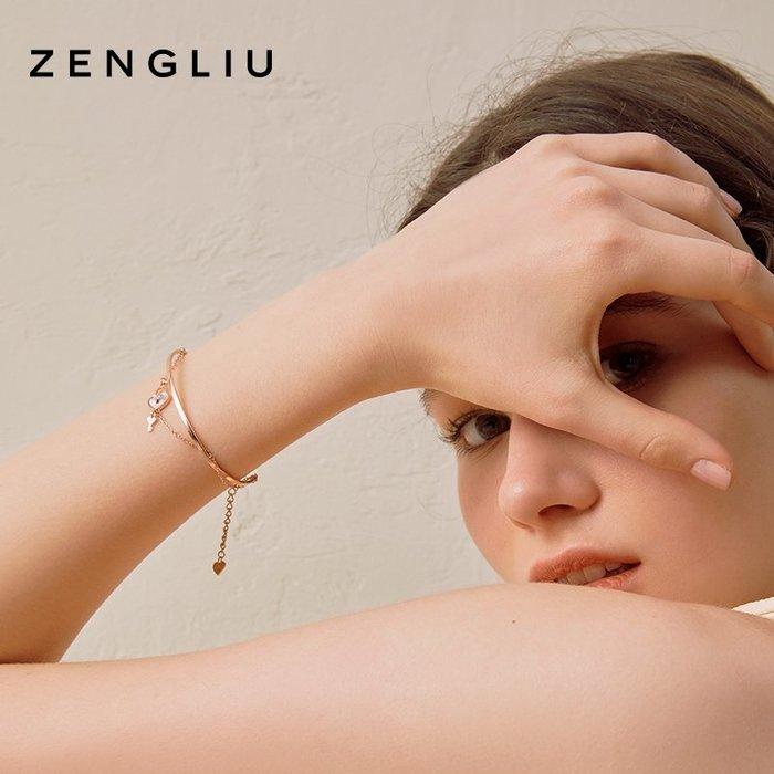 ZENGLIU設計師款雙層愛心鎖鑰匙閨蜜手鍊ins小眾設計手環女手飾品