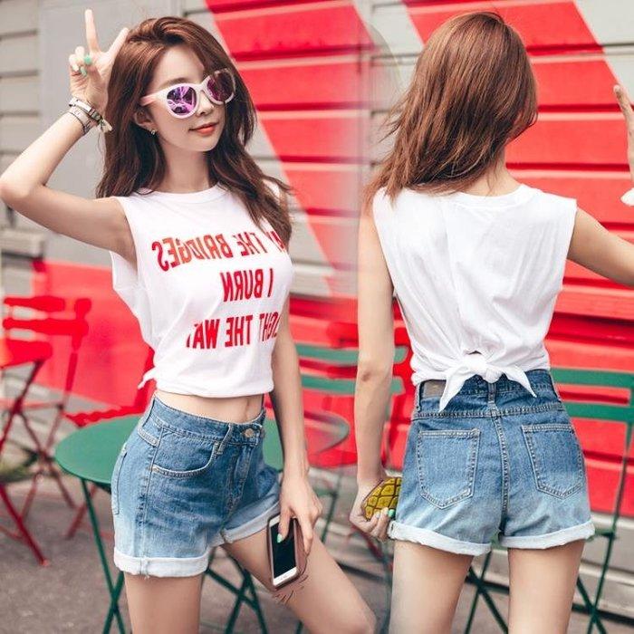 無袖t恤女夏寬鬆韓版學生個性印花百搭綁帶上衣短款運動吊帶背心