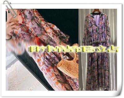 時尚E站【~SSEZ~】9390615160 網紅款印花V領腰間釘珠長洋裝 S M L