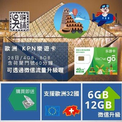 【吳哥舖】歐洲32國 樂遊卡 荷蘭KPN電信 28日8GB+4GB(流量升級)+60分鐘通話 690元