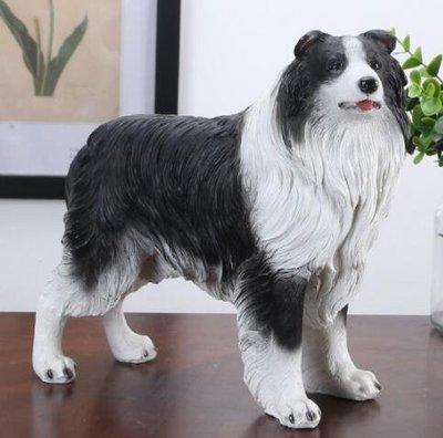 6330A 歐式 可愛邊境牧羊犬擺件 仿真樹脂狗狗裝飾品招財狗狗牧羊犬模型擺飾工藝品禮物