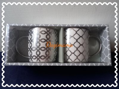 【現貨今天出】全新@銀色花紋普普風新骨瓷對杯(360ml/2入)