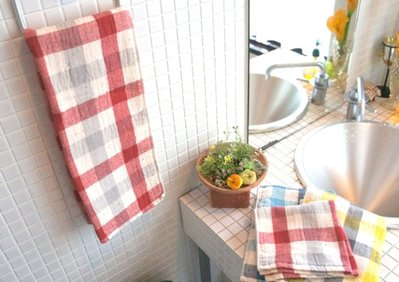 [暖遊小時光] 現貨 日本製 kontex 格紋浴巾 113x57cm 今治毛巾
