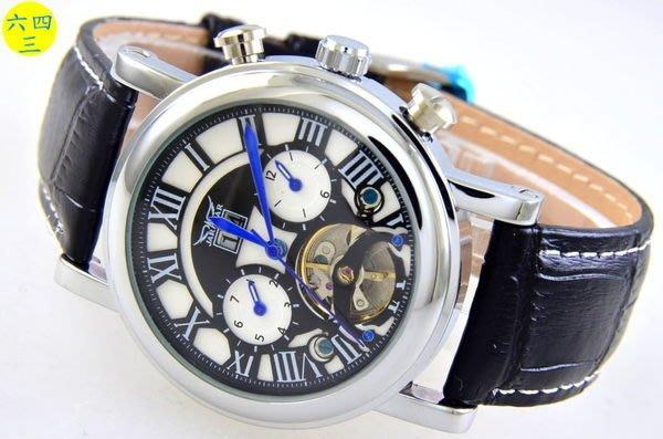 (六四三精品)大錶徑4.0公分.大視窗日期.星期.月份.陀飛..等超複雜多功能自動上鍊機械錶..