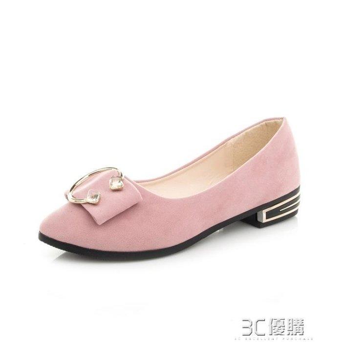【瘋狂夏折扣】平底鞋 春夏季時尚新款女鞋蝴蝶結豆豆淺口尖頭低跟平底水鉆單鞋