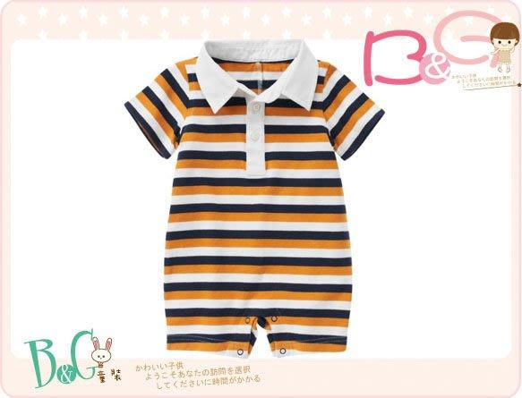【B& G童裝】正品美國進口GYMBOREE黃黑白條紋短袖polo連身裝12-18mos