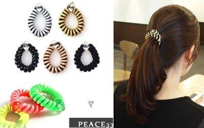 【PEACE33】正韓國空運進口。髮飾飾品 捲捲電話線 多切面水晶環 髮繩/髮圈/髮束。現貨色 優惠