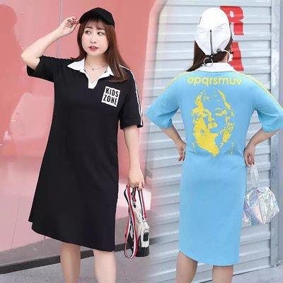 ✿plump girl 韓系✿中大尺碼女裝孕婦裝袖連衣裙襯衣領T卹裙3139