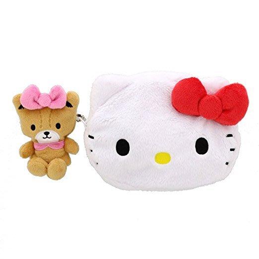 *Miki日本小舖*日本㊣版三麗鷗Hello Kitty凱蒂貓大頭+小熊造型絨毛零錢包/隨身包/包包掛飾