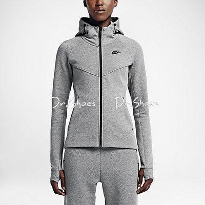 【Dr.Shoes】現貨 Nike Tech Fleece Full 灰 女裝 棉質 連帽外套 683795-091