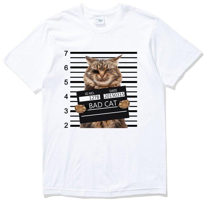 Bad Cat Criminal 短袖T恤 2色 壞貓犯罪照片動物趣味貓咪搞怪狗毛小孩 現貨 亞版