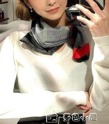 ZIHOPE 春夏新款紗巾氣質CHIC小方巾工裝絲巾千鳥格子圍巾女裝飾百搭領巾ZI812
