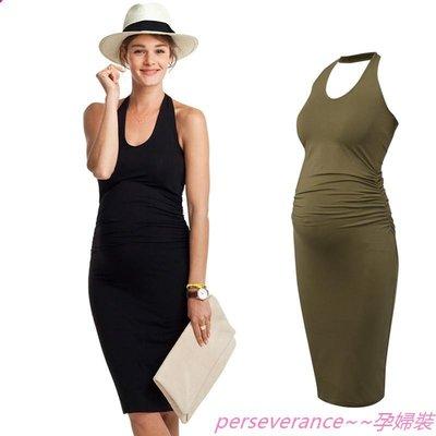 Perseverance~~孕婦裝孕婦裝夏季連身裙2019歐美孕婦夏款上衣懷孕衣服夏季孕婦裙子洋裝潮媽