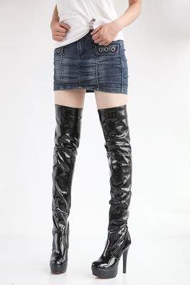 性感時尚細跟超高跟亮皮防水台女過膝長靴騎士靴-黑/白/紅34-43【no-520706148006】