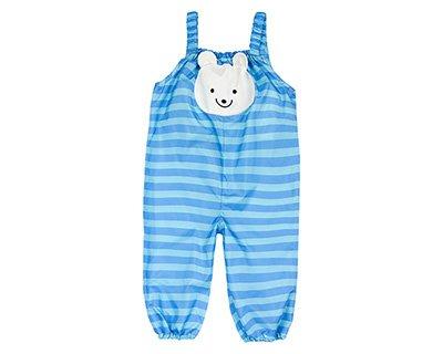 【現貨】日本 motherways 玩沙衣~ 藍底橫條 可愛大熊臉圖案