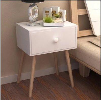 『格倫雅』床頭櫃北歐實木腿邊幾日式床頭櫃迷妳抽屜櫃邊角櫃簡約現代收納櫃^25704