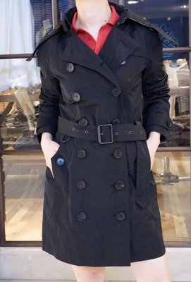 Burberry 2976241 Heritage Trench Coat 經典中長版連帽風衣 黑 38/40/42