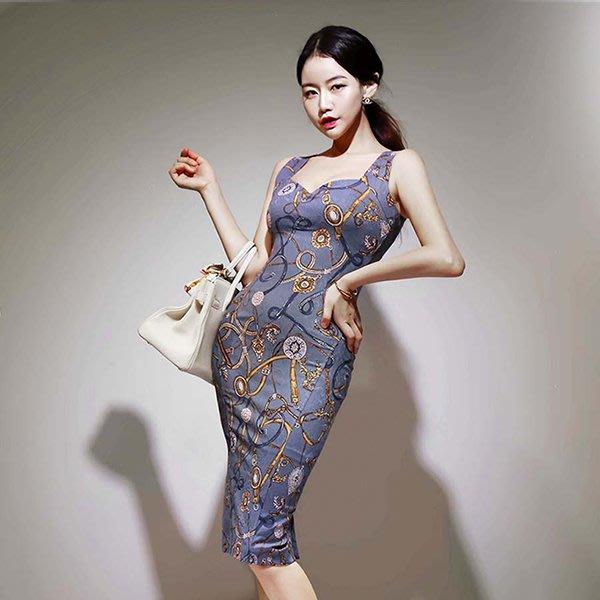 東大門專業代購 正韓國空運 圖紋印花簡約無袖禮服洋裝【9AUG-28460171】