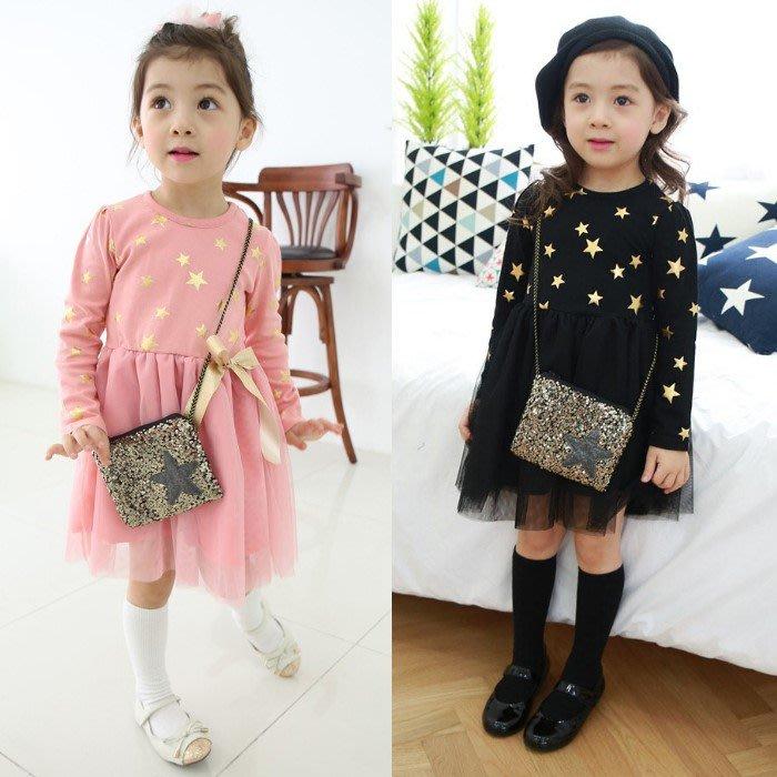 韓版《閃亮小星星》甜美長袖洋裝 (J3-4)
