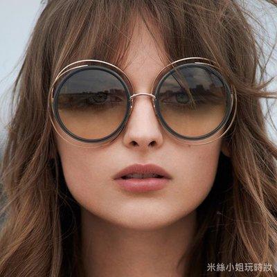 現貨 歐美Chloe類似款圓形雙色金屬圈墨鏡太陽眼鏡  附眼鏡盒抗UV 店長實拍 韓國空運歐美代購 米絲小姐玩時妝