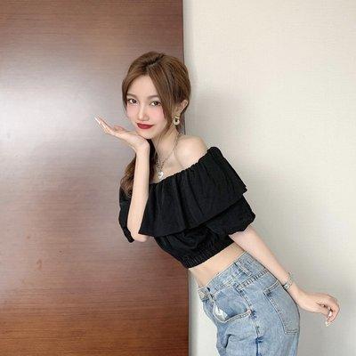 韓版 平口T恤 一字肩 女裝潮時尚松緊收腰短款性感露肩襯衫 一字領 上衣