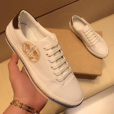 極簡鞋館~歐洲站新款真皮美杜莎小白鞋男正韓白鞋潮流夏季透氣白色板鞋百搭