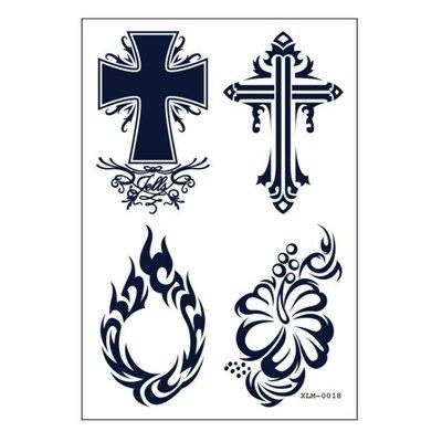 【萌古屋】十字架火焰符號 - 半永久果汁紋身刺青為維持2周 擦不掉紋身刺青XLM-018 K61