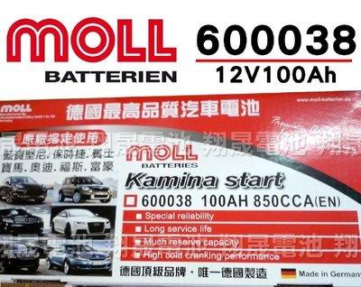 彰化員林翔晟電池/全新 德國莫爾MOLL 免加水汽車電池/60038(100AH)/舊品強制回收 安裝工資另計