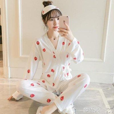 睡衣女秋冬日繫和服長袖兩件套裝清新甜美可愛學生寬鬆韓版家居服