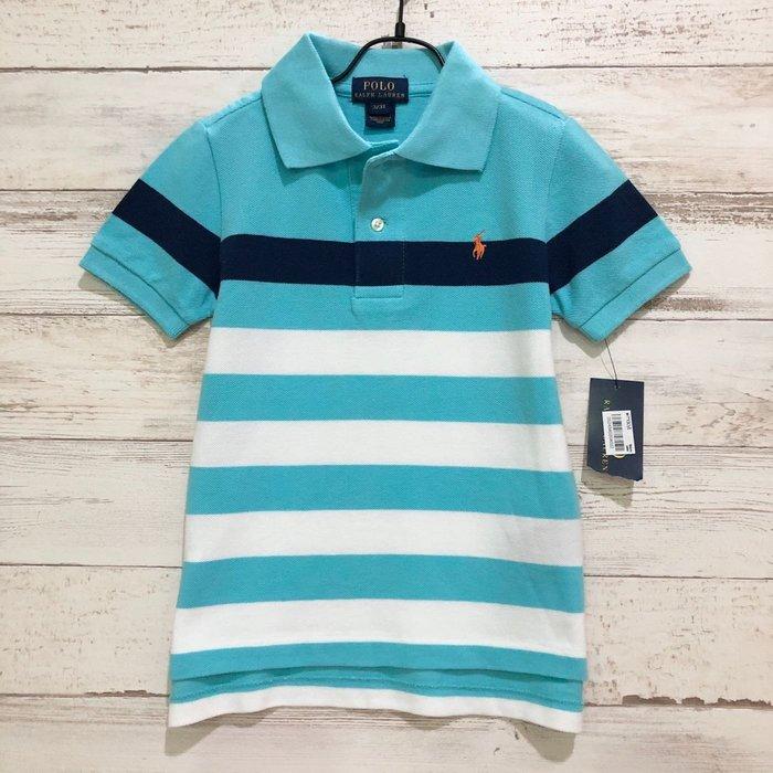 Maple麋鹿小舖 美國購買 童裝品牌POLO RALPH LAUREN 男童水藍色條紋POLO短衫* ( 現貨3T )