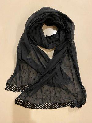 Anna Sui安娜蘇圍巾,絲巾,披肩,黑色百搭,圓點刺繡,50%絹50%綿,約47*180cm超大尺寸