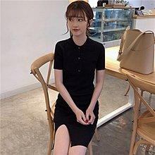 春季女裝新款韓版Polo領中長款開叉針織連衣裙氣質修身包臀短裙女