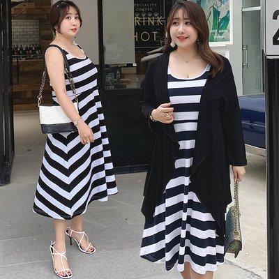 Aimei 工廠直供 夏季新款胖妹妹大碼女裝輕薄開衫搭條紋背心裙W011 XC
