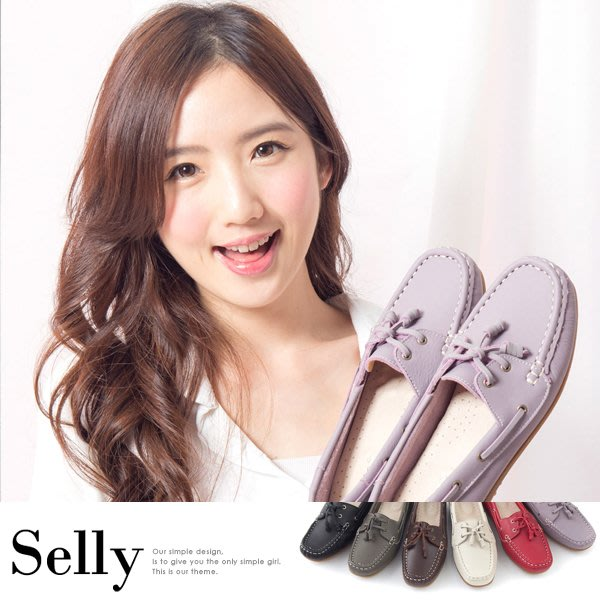 Selly outlet MIT情侶鞋系列-專利水洗牛皮帆船鞋-女鞋-MIT41粉嫩紫40號 NG281