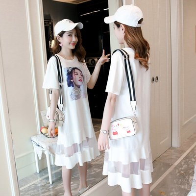 孕婦裙 連身裙 孕婦裝孕婦夏裝連衣裙時尚款 新款印花T恤拼接網紗裙中長款潮媽女