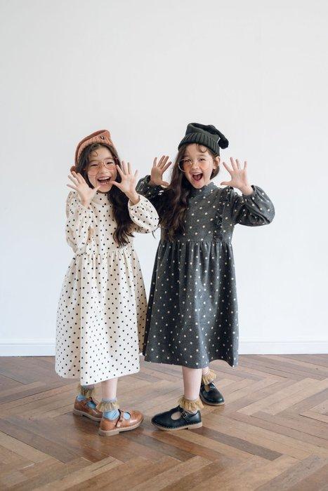 女小童 中大童 秋裝新款韓版中大童長袖圓點荷葉邊寬鬆公主長裙 連身洋裝#1542