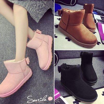 【V8977】SMILE-百搭時尚.保暖加厚加絨短筒平底雪地短靴鞋
