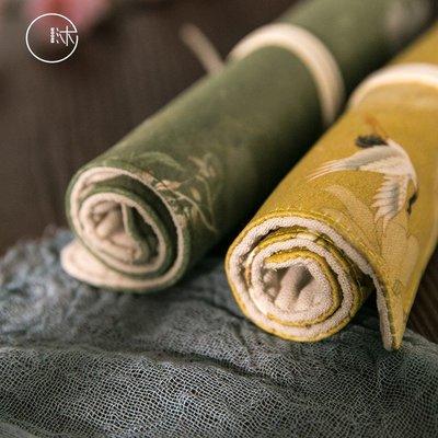 (次元周邊)沐染中國風古風筆袋 創意鉛筆袋卷筆簾文具盒 宮廷風故宮花朵仙鶴
