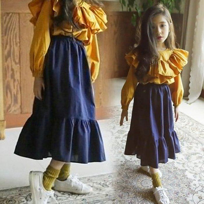 [C.M.平價精品館]新品特價110~160CM/俏麗典雅荷葉裙襬鬆緊腰圍深藍色長裙  小中童/大童/母女裝