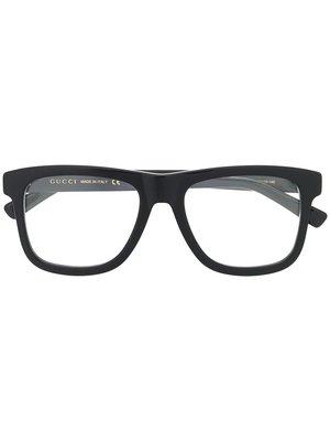 GUCCI Logo 男生配件 黑色矩形鏡框黑色側臂眼鏡  萊克精品代購 190827026