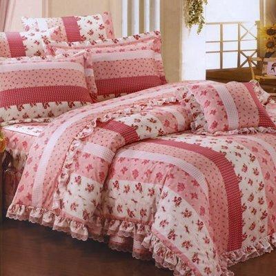 =時尚藝術家=☆甜美鄉村雙人鋪棉床罩組(台灣製)~床裙為全花色波浪造型~
