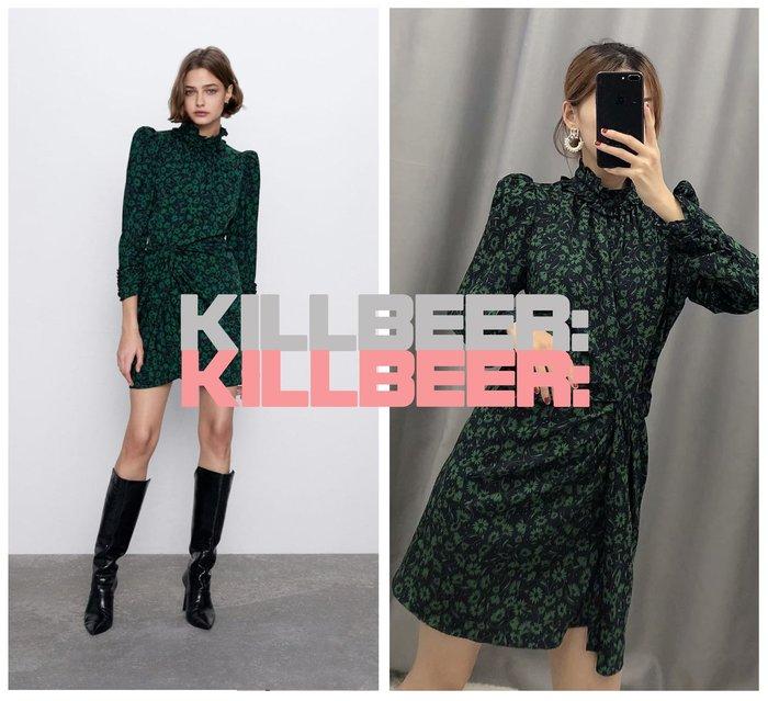 KillBeer:小姊姊等等我之 歐美復古氣質優雅藏青翠綠花朵印花典雅貴氣小高領抓皺宮廷袖連身裙洋裝010402