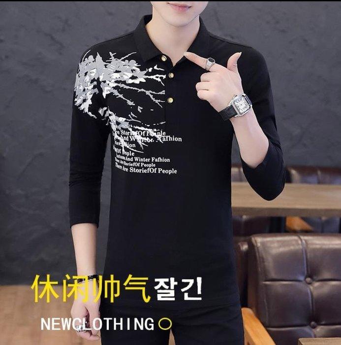 polo衫 新款秋季男士T恤韓版潮流有領印花POLO衫長袖男裝個性上衣服一件免運