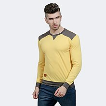 秋季新款打底衫時尚領口肩部衣擺袖口拼色男士休閑圓領長袖T恤黃