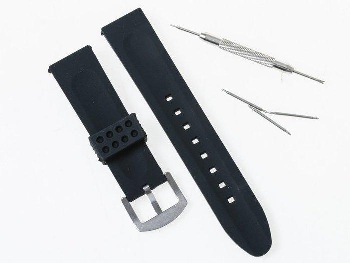 【幸福2次方】透氣運動矽膠錶帶 - 雙溝款 - 22mm黑色 FA-44030